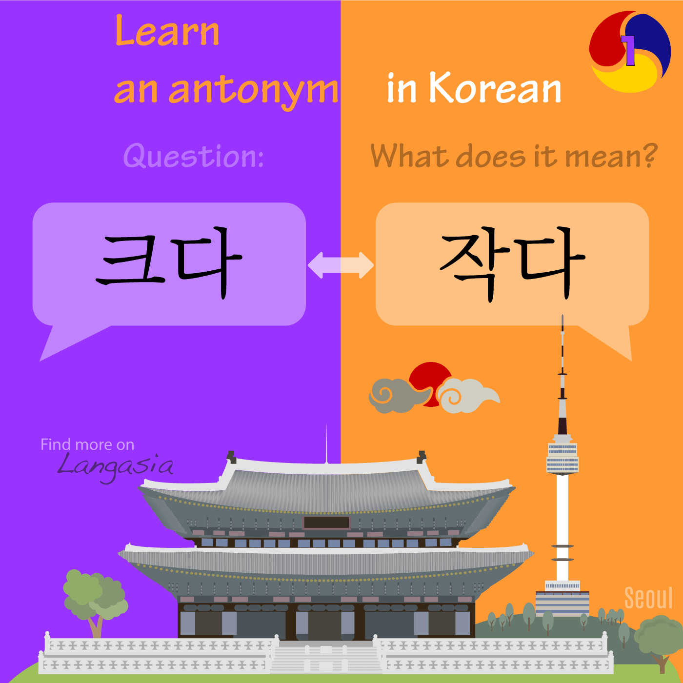 Antonym in Korean - 작다 to be small VS 크다 to be big