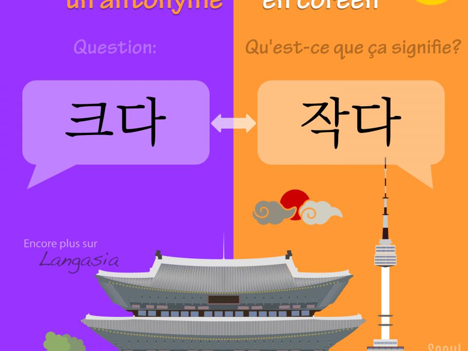 Antonyme en coréen - 작다 être petit VS 크다 être grand