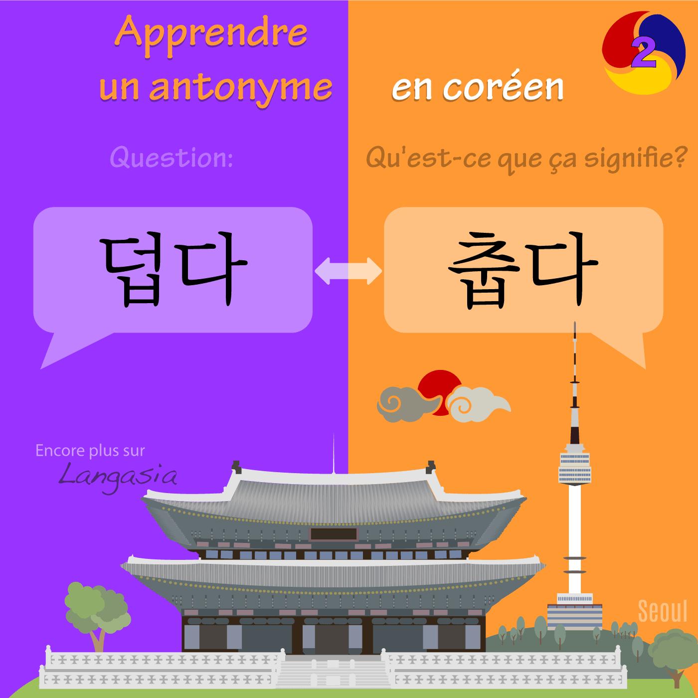 Antonyme en coréen - 덥다 être chaud VS 춥다 être froid
