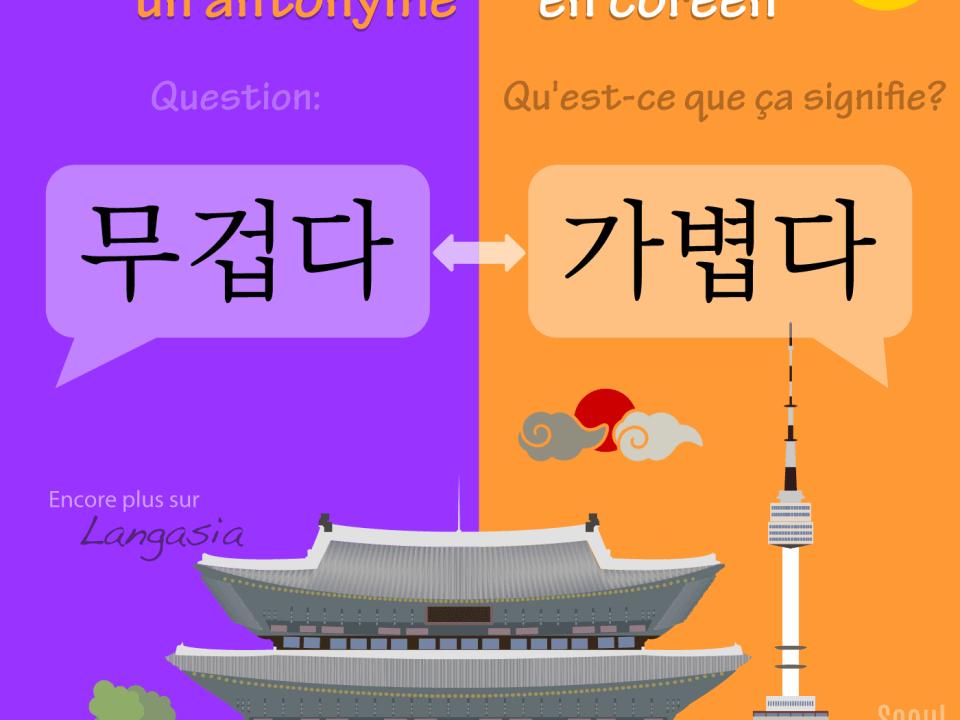 Antonyme en coréen - 무겁다 être lourd VS 가볍다 être léger