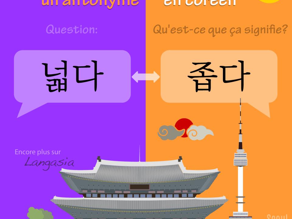Antonyme en coréen - 넓다 être large VS 좁다 être étroit